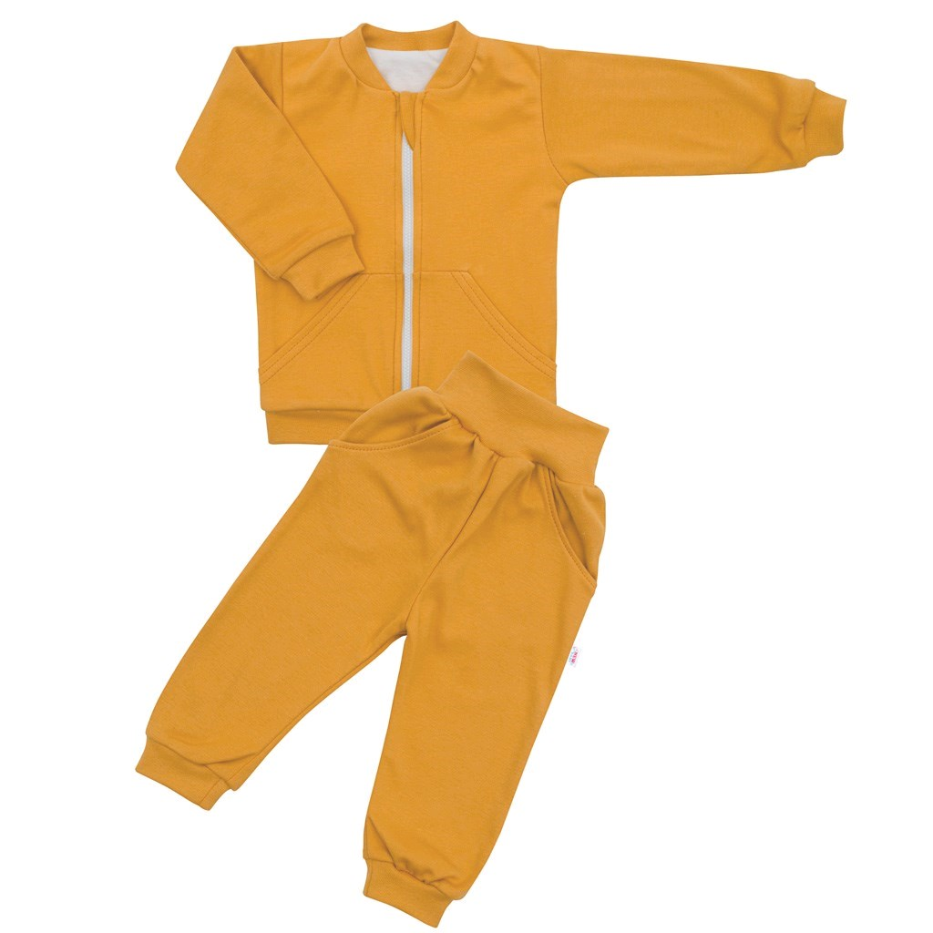 Kojenecké tepláčky a mikinka New Baby Uni hořčicová, 68 (4-6m)