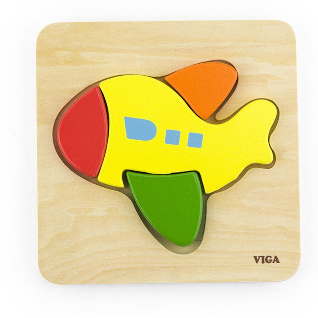 Dřevěné puzzle pro nejmenší Viga Letadlo