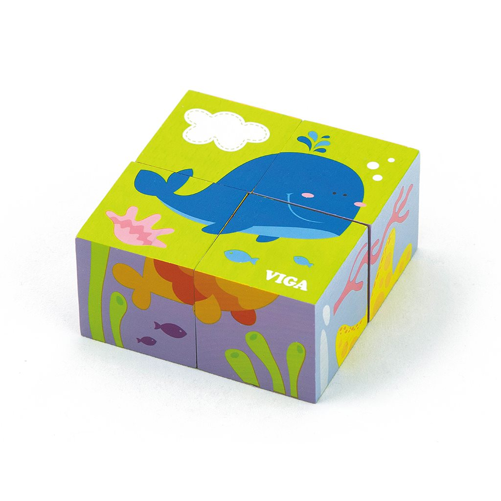 Dřevěné puzzle kostky pro nejmenší Viga Velryba