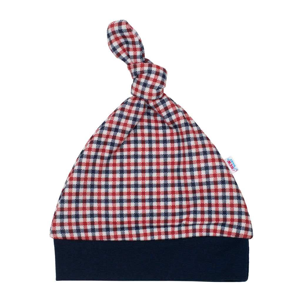 Kojenecká bavlněná čepička New Baby Checkered, 62 (3-6m)