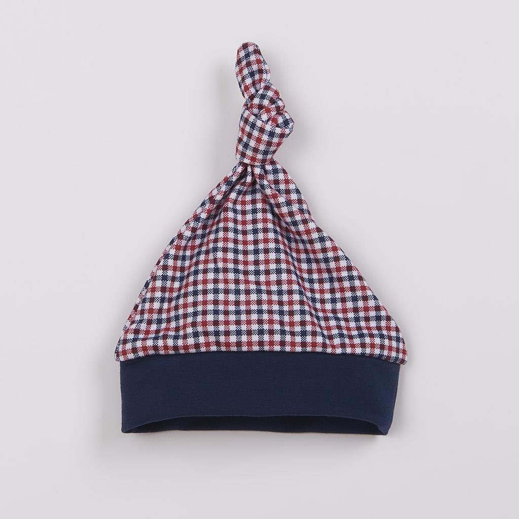 Kojenecká bavlněná čepička New Baby Checkered, 74 (6-9m)