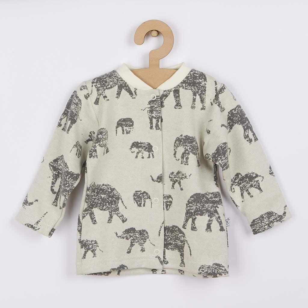 Kojenecký kabátek Baby Service Sloni šedý vel. 62 (3-6m)