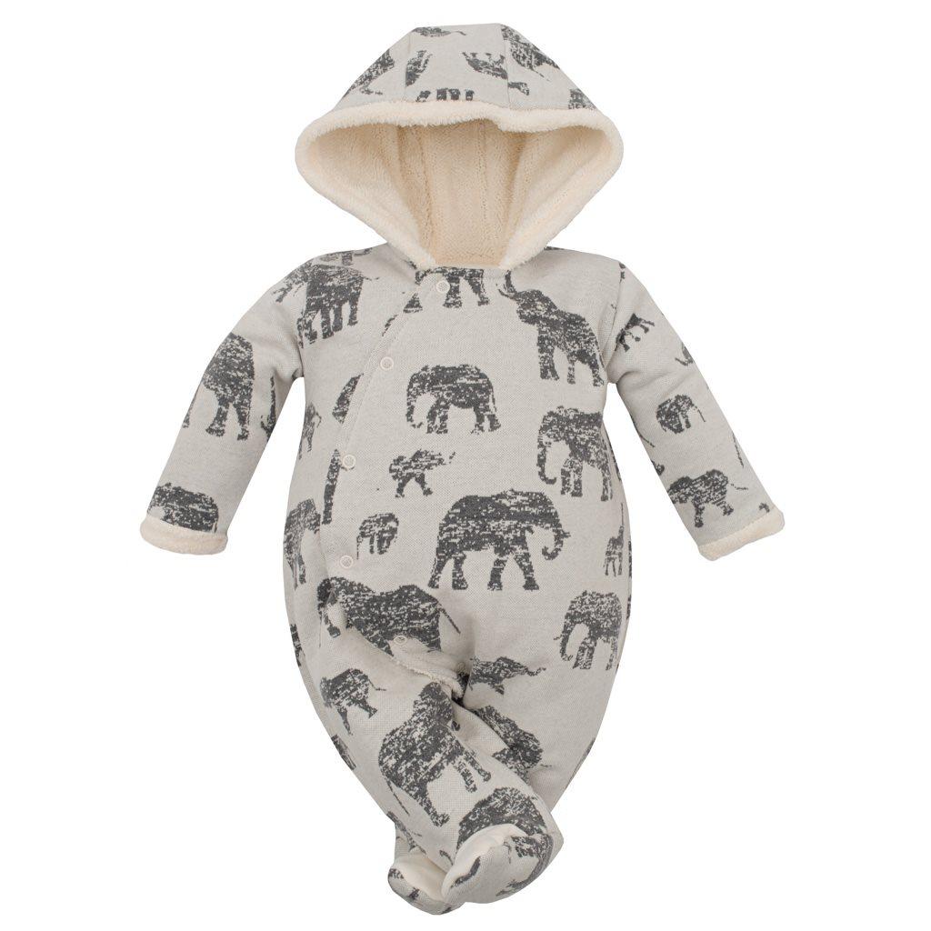 Zimní kojenecká kombinéza s kapucí Baby Service Sloni šedá, 62 (3-6m)