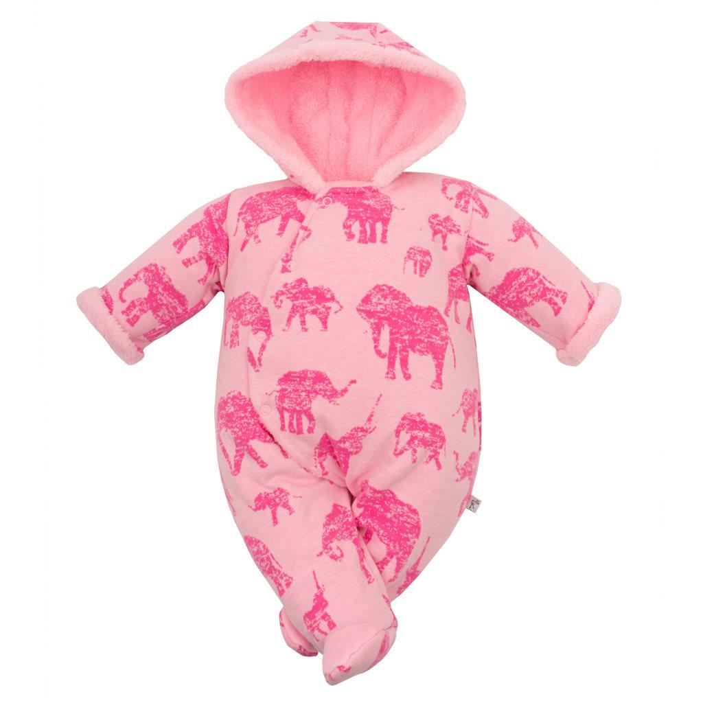 Zimní kojenecká kombinéza s kapucí Baby Service Sloni růžová, 68 (4-6m)