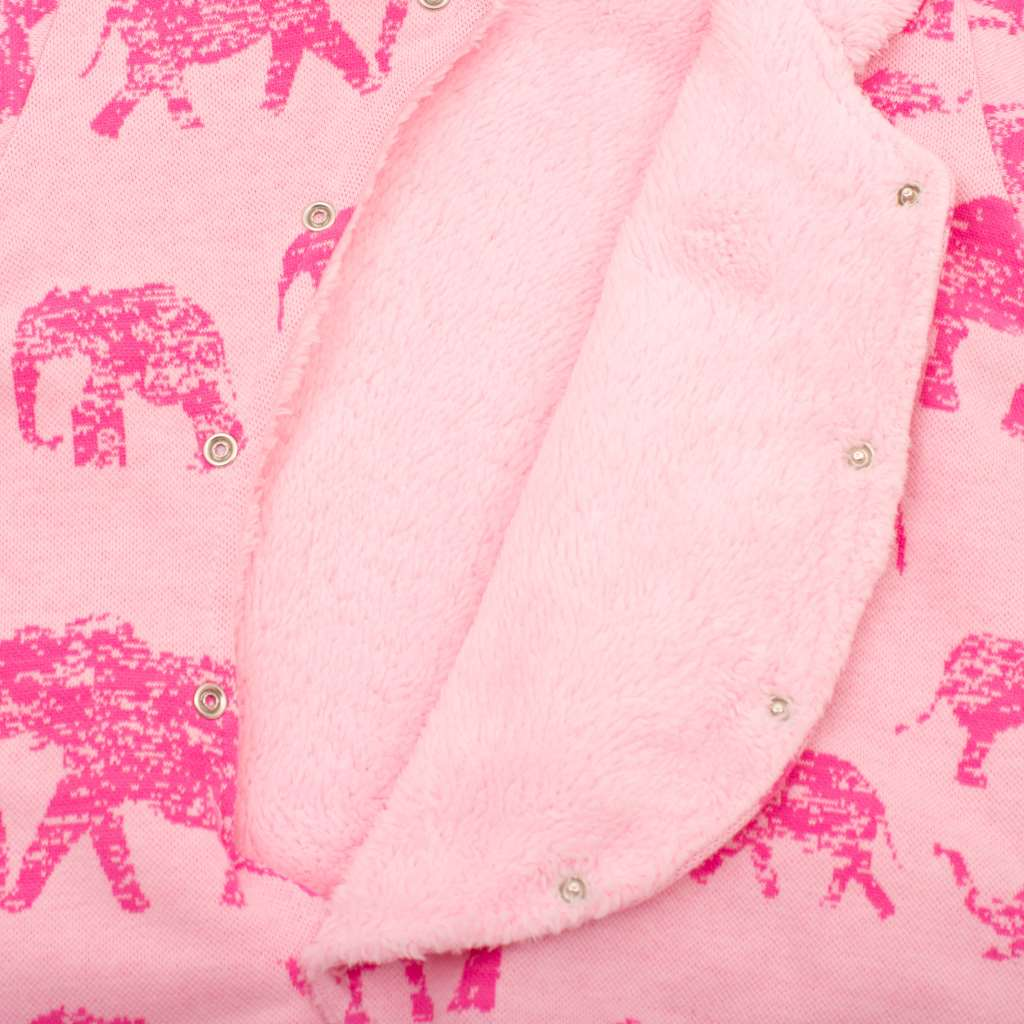 Zimní kojenecká kombinéza s kapucí Baby Service Sloni růžová