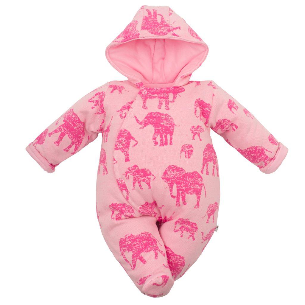 Zateplená kojenecká kombinéza s kapucí Baby Service Sloni růžová vel. 62 (3-6m)