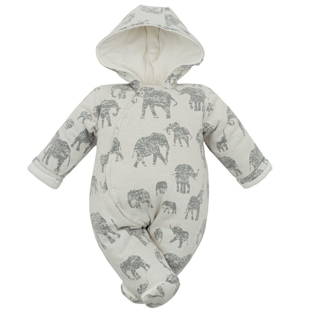Zateplená kojenecká kombinéza s kapucí Baby Service Sloni šedá, 62 (3-6m)