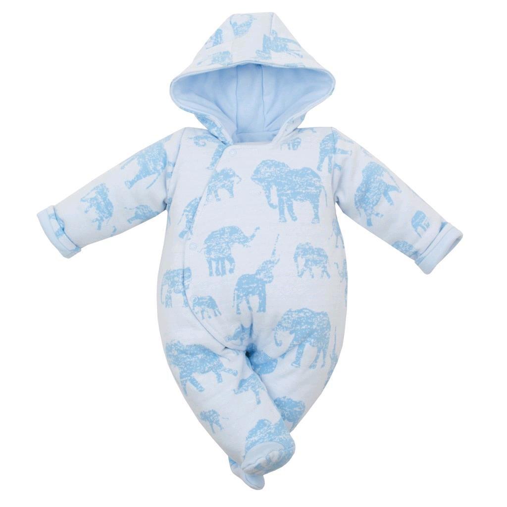 Zateplená kojenecká kombinéza s kapucí Baby Service Sloni modrá vel. 62 (3-6m)