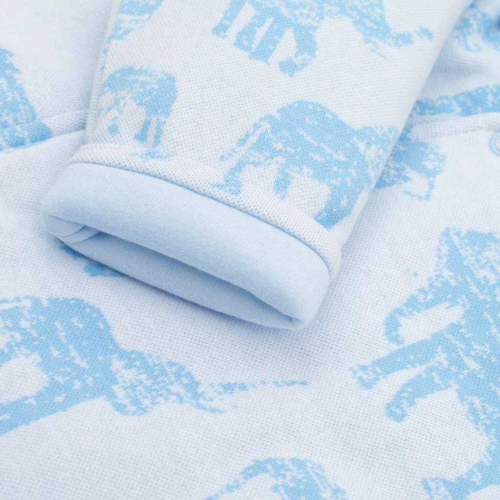 Zateplená kojenecká kombinéza s kapucí Baby Service Sloni modrá