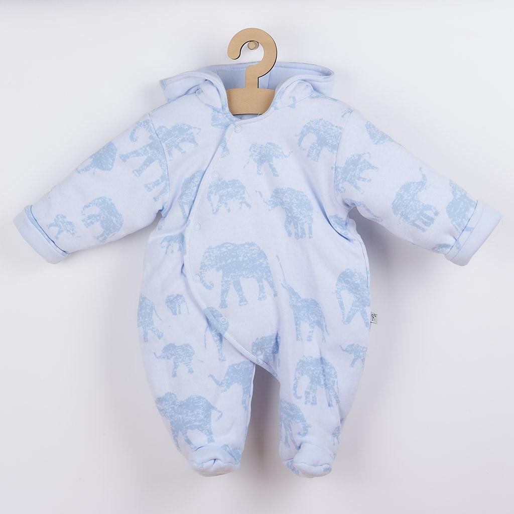 Zateplená kojenecká kombinéza s kapucí Baby Service Sloni modrá, Velikost: 68 (4-6m)