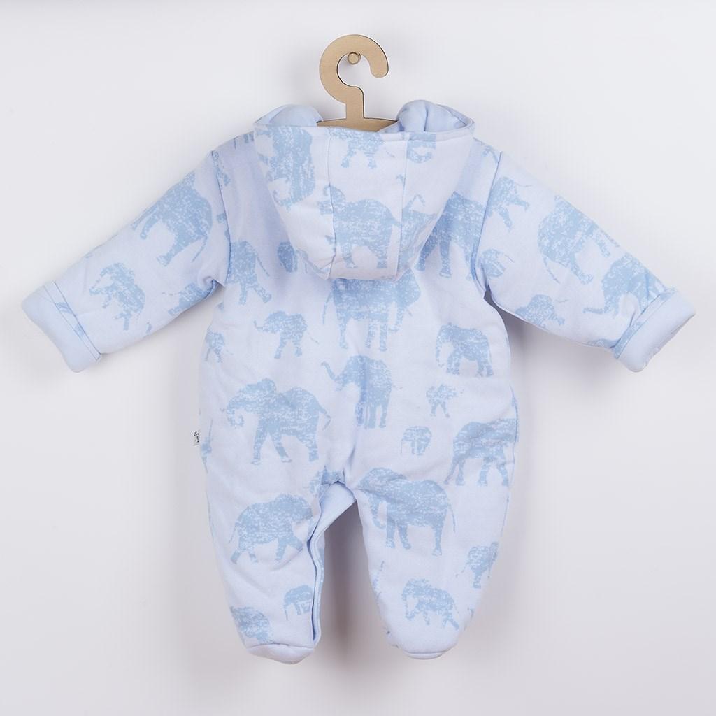Zateplená kojenecká kombinéza s kapucí Baby Service Sloni modrá, 68 (4-6m)