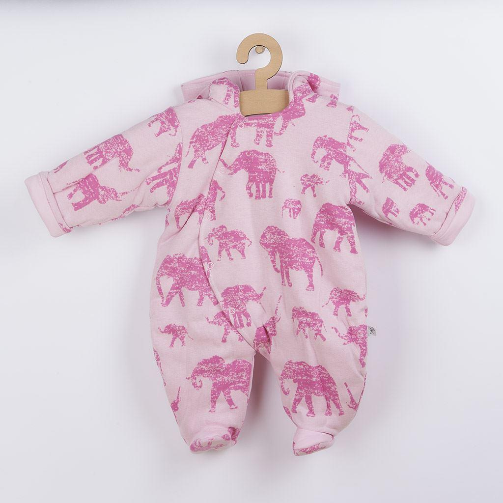 Zateplená kojenecká kombinéza s kapucí Baby Service Sloni růžová vel. 74 (6-9m)