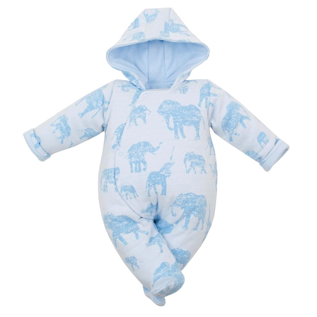 Zateplená kojenecká kombinéza s kapucí Baby Service Sloni modrá vel. 74 (6-9m)