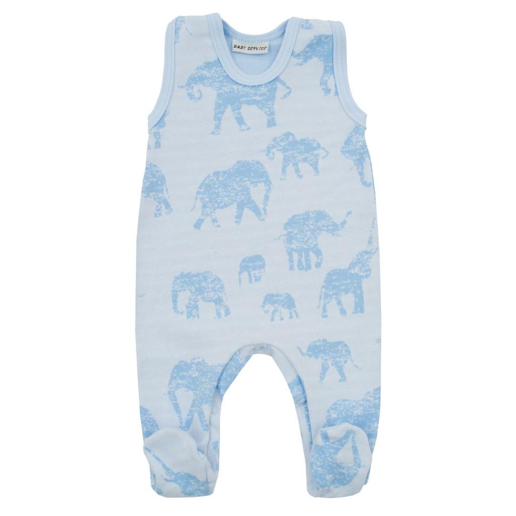 Zimní kojenecké dupačky Baby Service Sloni modré, 68 (4-6m)