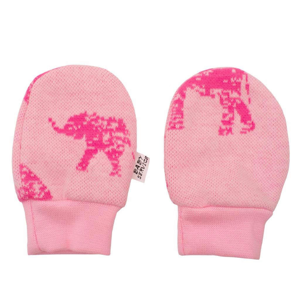Zimní kojenecké rukavičky Baby Service Sloni růžové