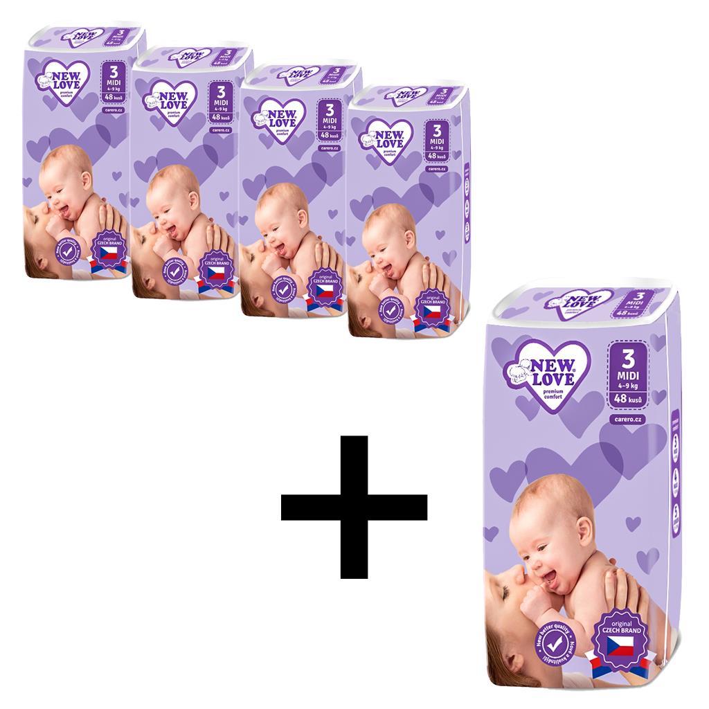 AKCE 4+1 Dětské jednorázové pleny New Love Premium comfort 3 MIDI 4-9 kg 5x48 ks
