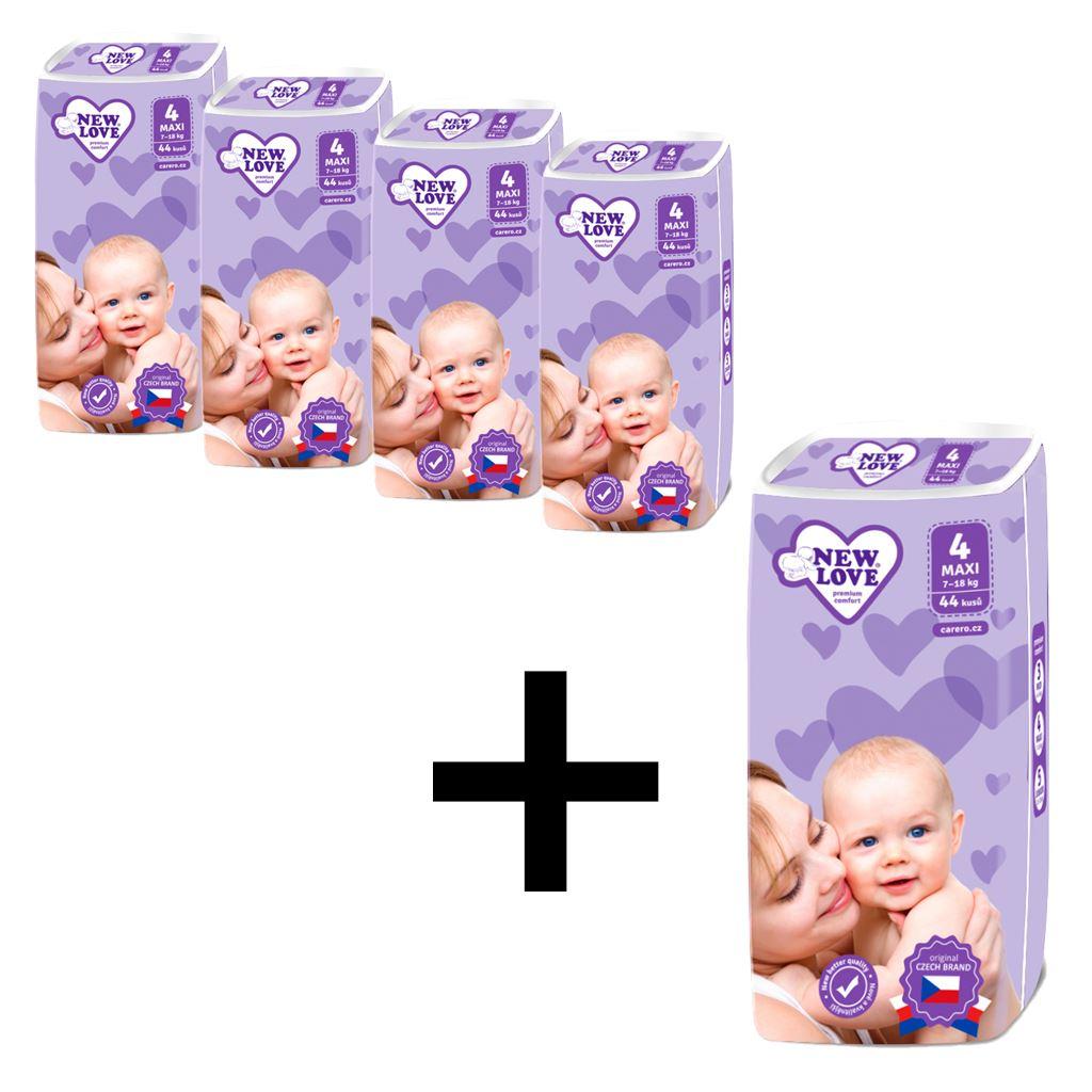 AKCE 4+1 Dětské jednorázové pleny New Love Premium comfort 4 MAXI 7-18 kg 5x44 ks