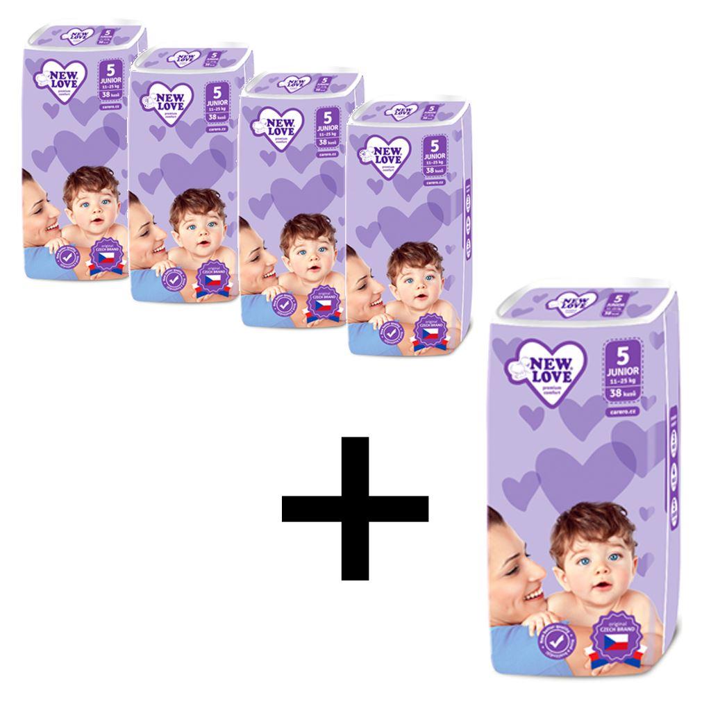 AKCE 4+1 Dětské jednorázové pleny New Love Premium comfort 5 JUNIOR 11-25 kg 5x38 ks