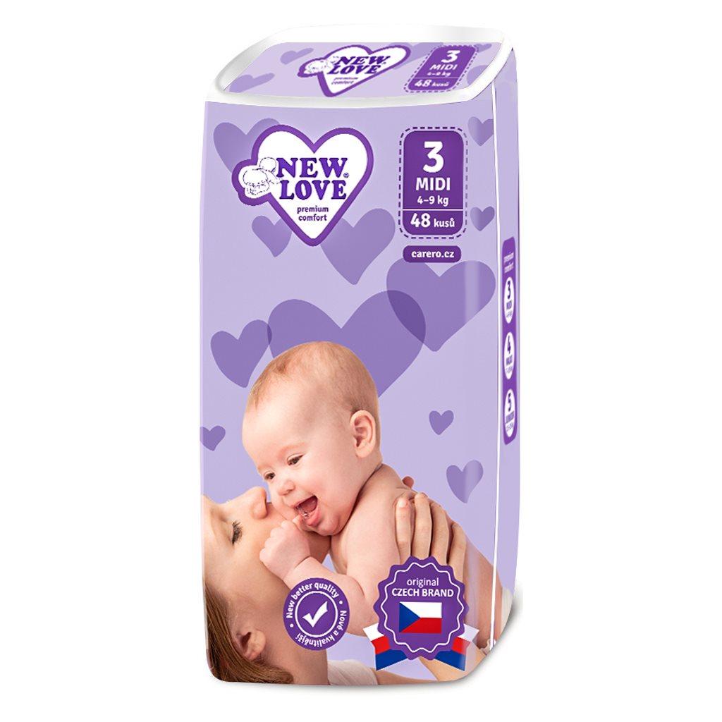 MEGAPACK Dětské jednorázové pleny New Love Premium comfort 3 MIDI 4-9 kg 5x48 ks