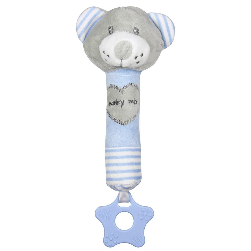 Dětská pískací plyšová hračka s kousátkem Baby Mix medvěd modrý