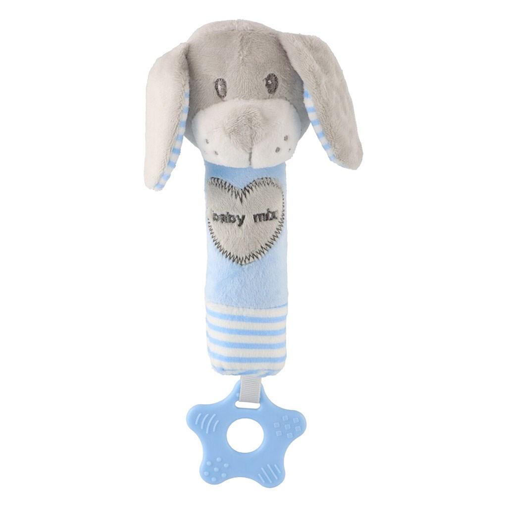 Dětská pískací plyšová hračka s kousátkem Baby Mix pes modrý