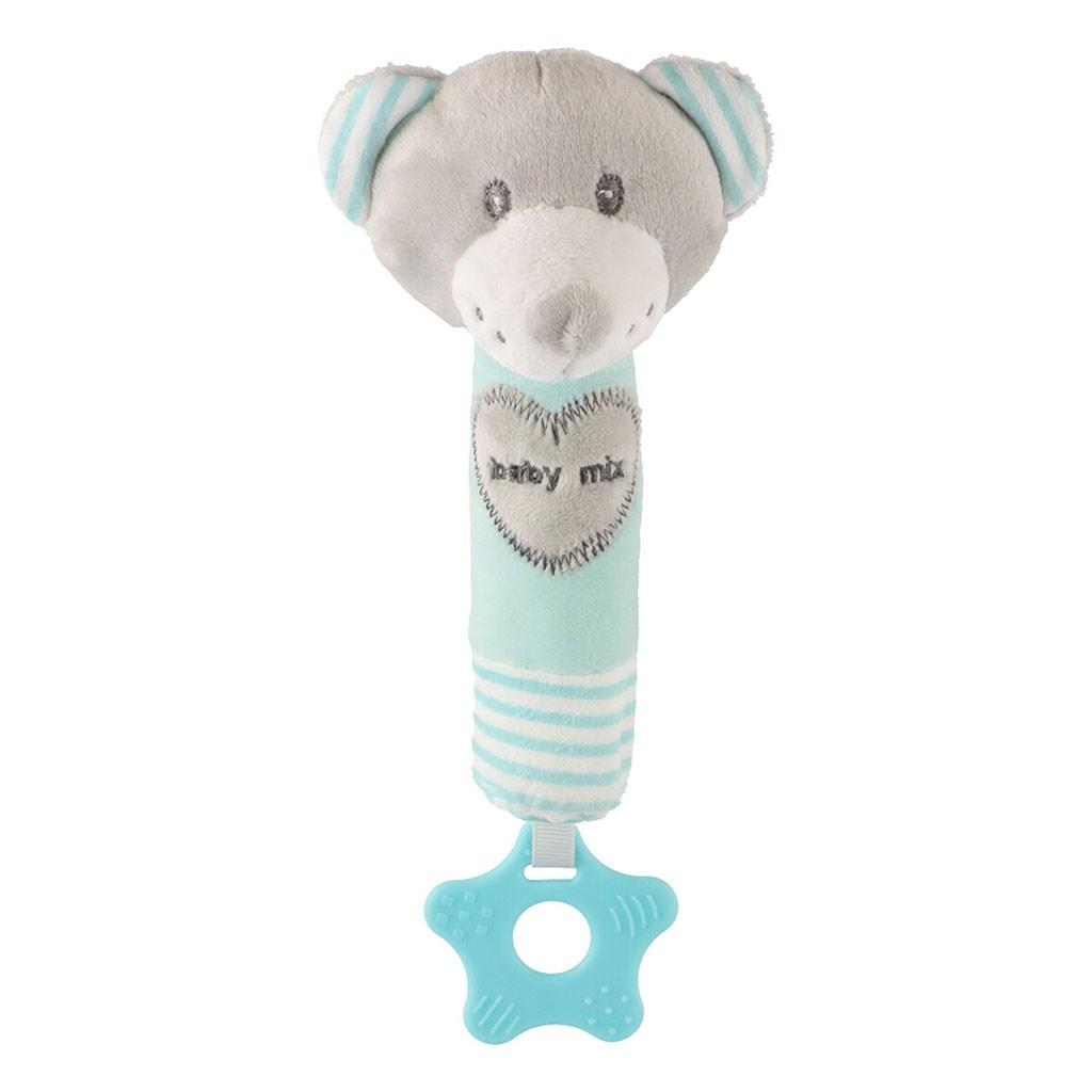 detská pískacia plyšová hračka s hryzátkom medvedík mátový