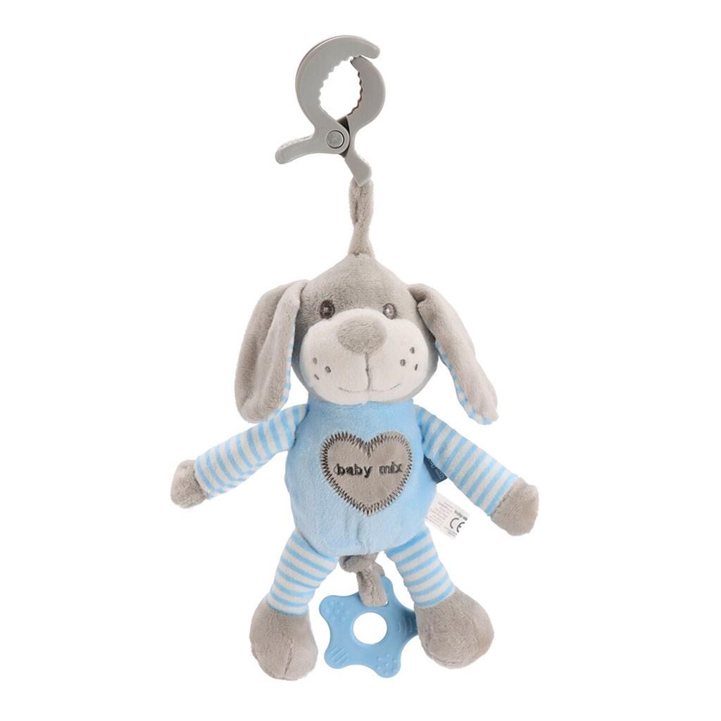 Edukační hrající plyšová hračka s klipem Baby Mix pes modrý