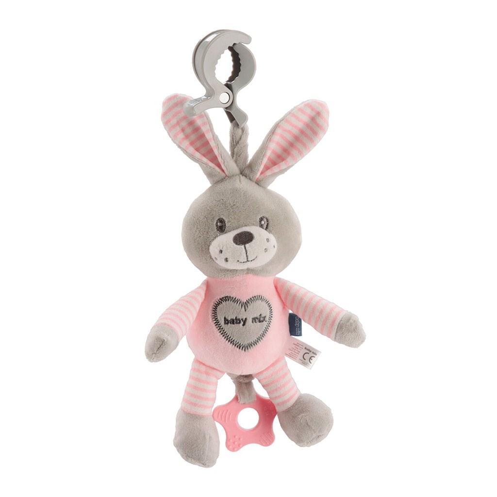 Edukační hrající plyšová hračka s klipem Baby Mix králík růžový