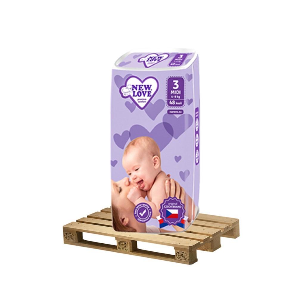 PALETA Dětské jednorázové pleny New Love Premium comfort 3 MIDI 4-9 kg 175x48 ks