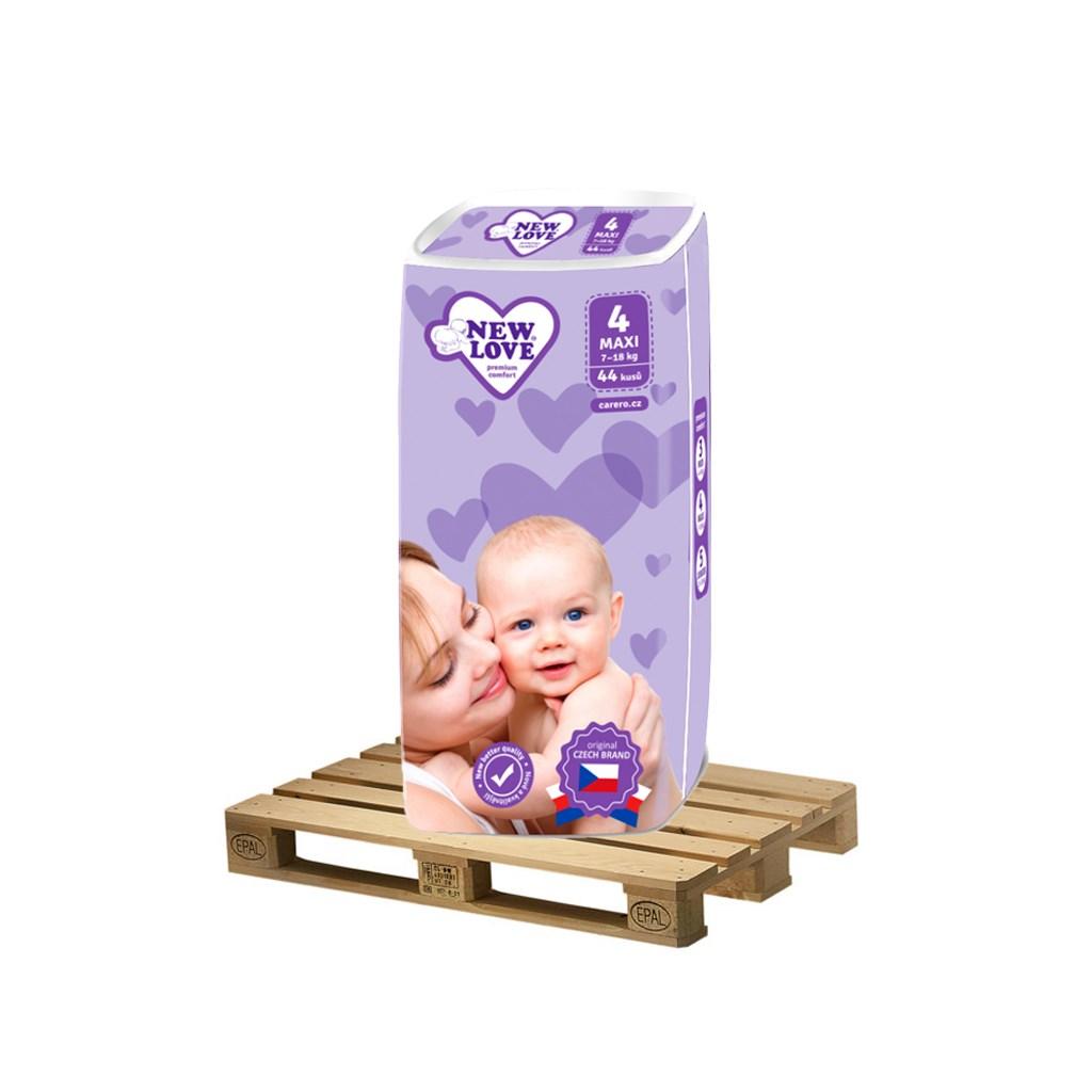 PALETA Dětské jednorázové pleny New Love Premium comfort 4 MAXI 7-18 kg 175x44 ks
