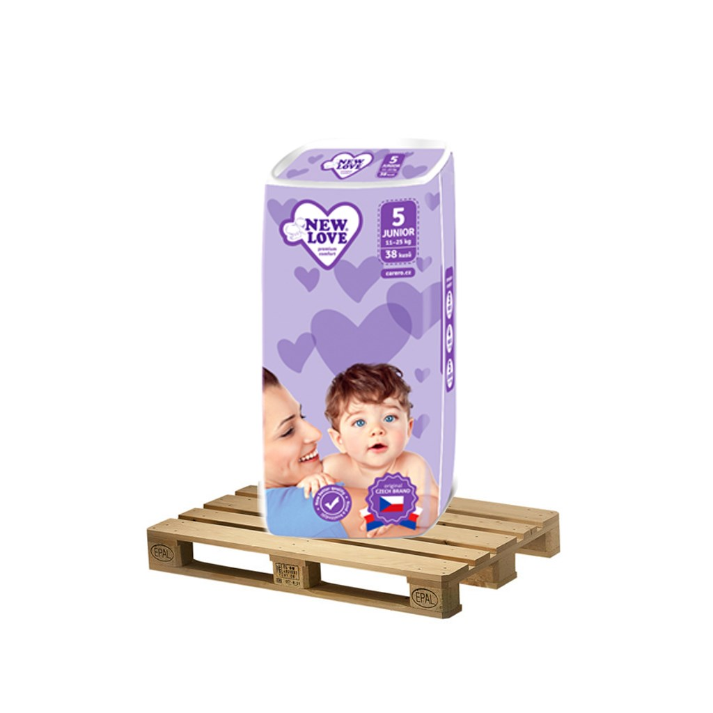 PALETA Dětské jednorázové pleny New Love Premium comfort 5 JUNIOR 11-25 kg 175x38 ks