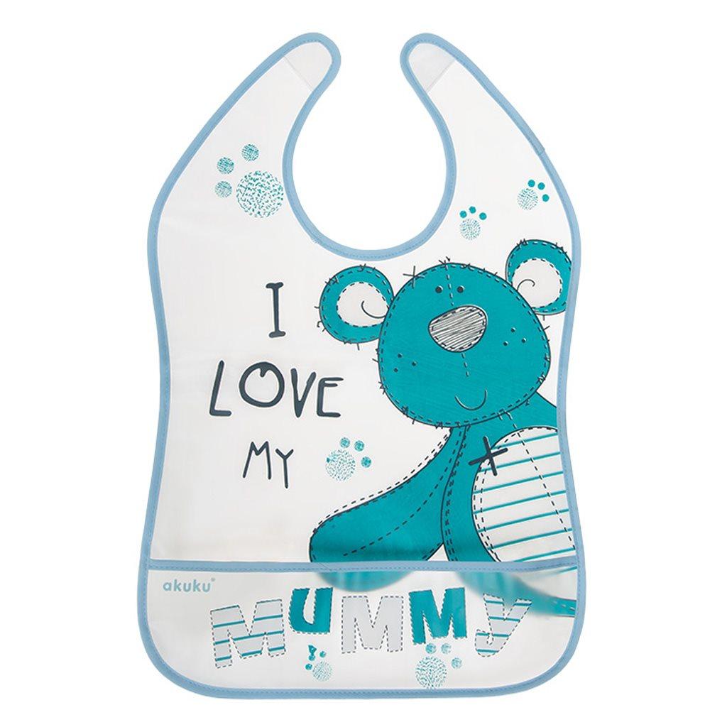 Dětský bryndák s kapsičkou Akuku Teddy Bear