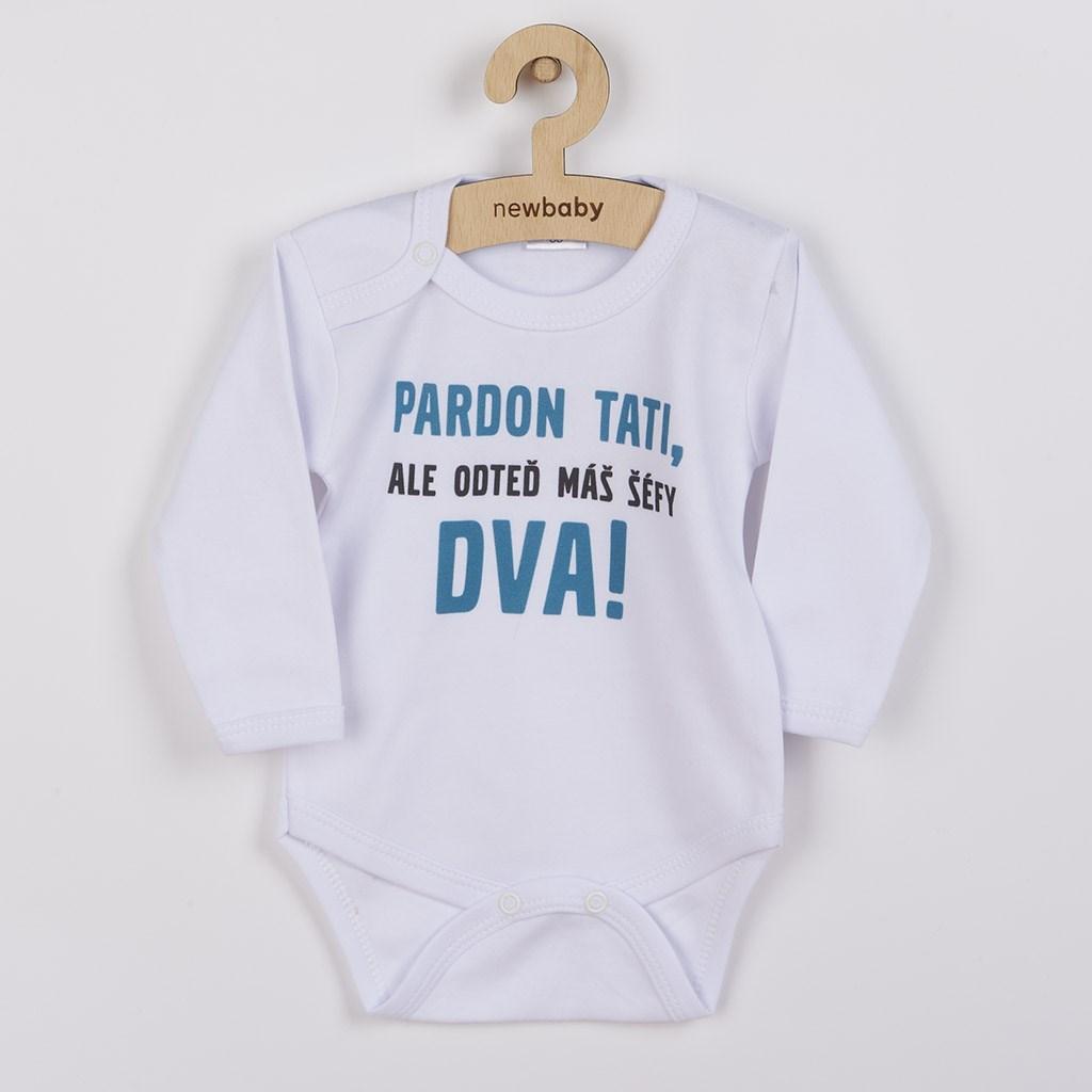 Body s potiskem New Baby Pardon tati, ...máš šéfy dva!, Velikost: 74 (6-9m)