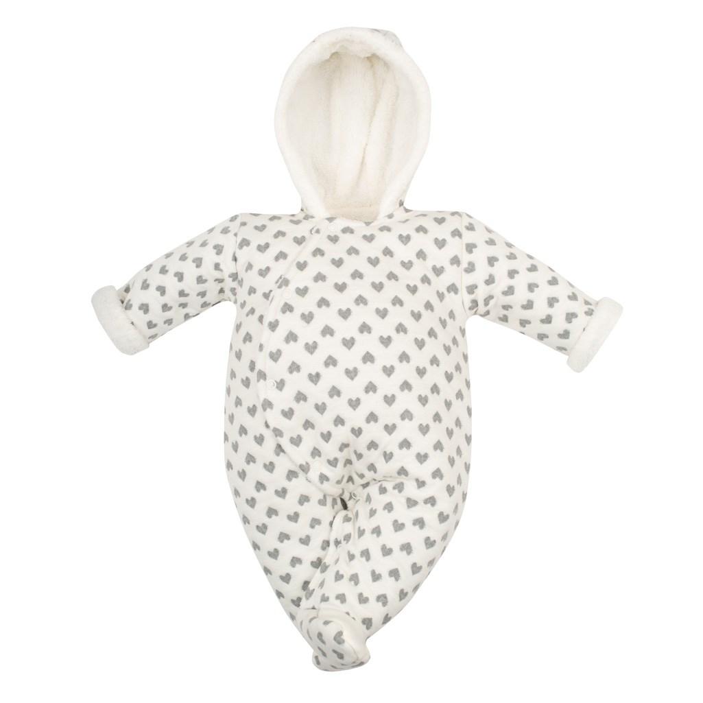 Zimní kojenecká termokombinéza s kapucí Baby Service Srdíčka