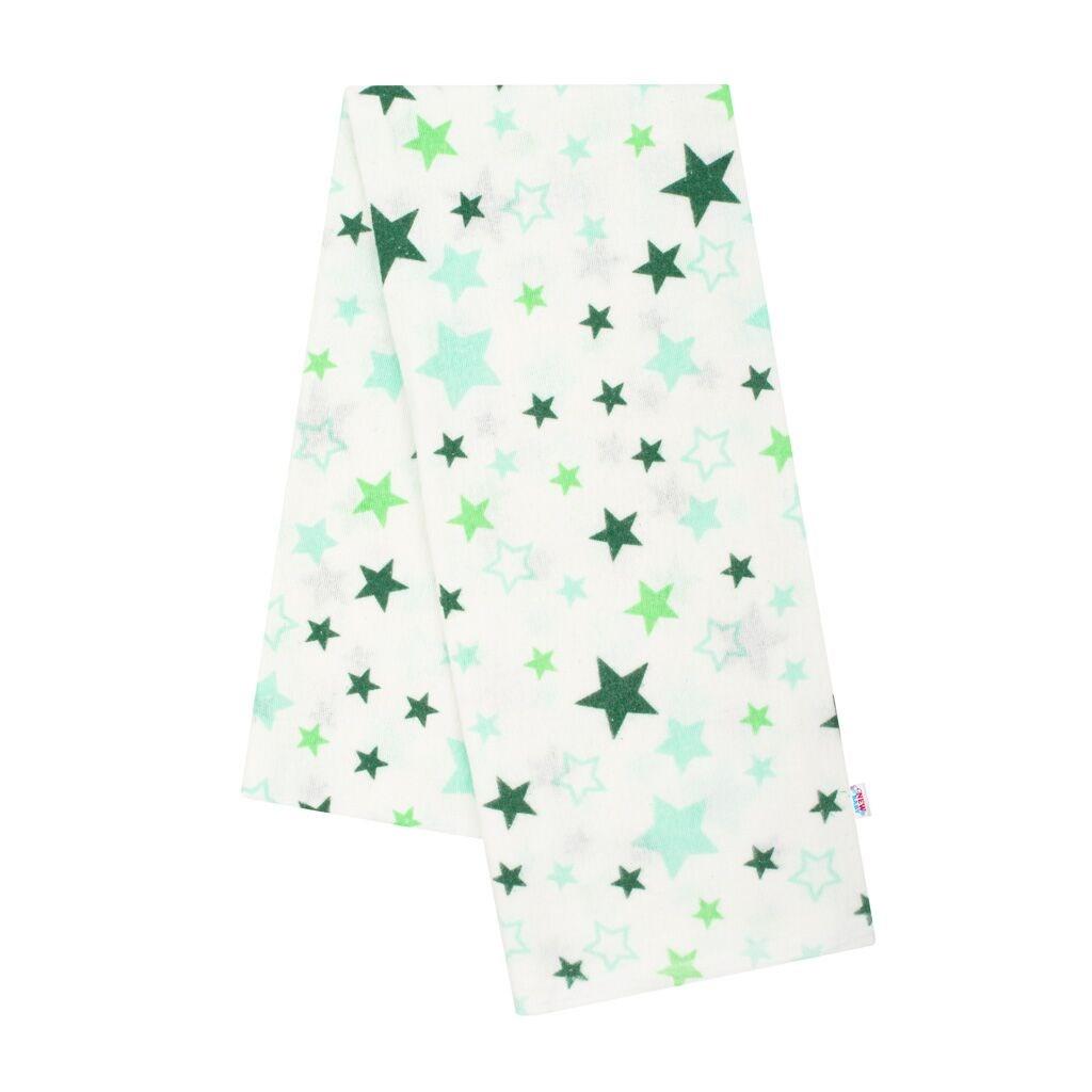 Flanelová plena s potiskem New Baby bílá hvězdy zelené