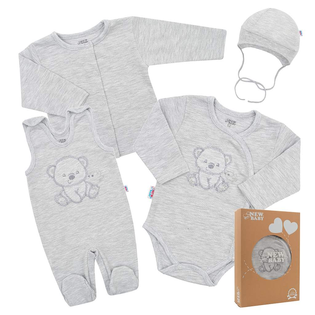 Kojenecká soupravička do porodnice New Baby Sweet Bear šedá, 56 (0-3m)
