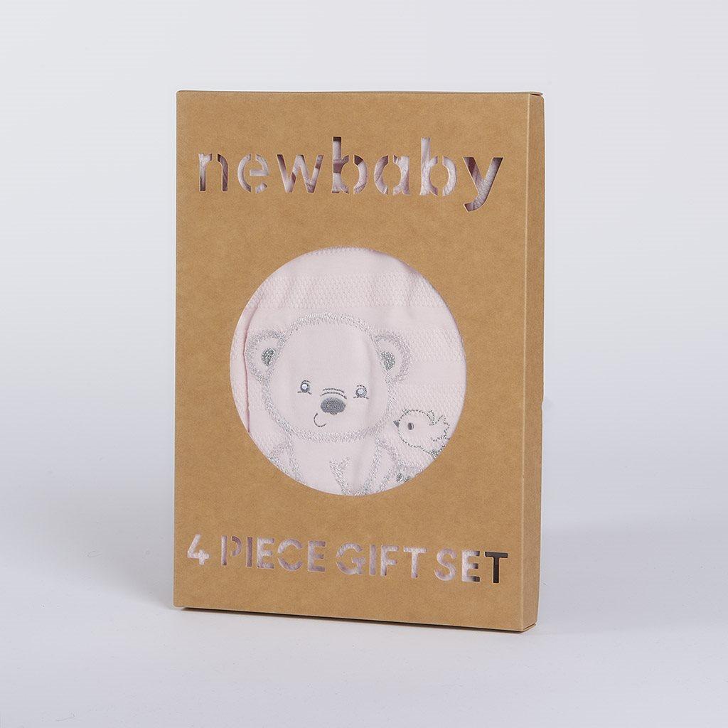 Kojenecká soupravička do porodnice New Baby Sweet Bear růžová, 56 (0-3m)