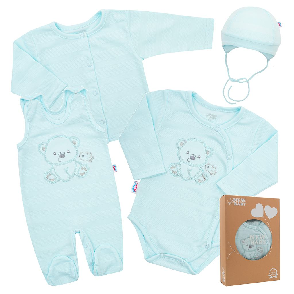 Kojenecká soupravička do porodnice New Baby Sweet Bear modrá 62