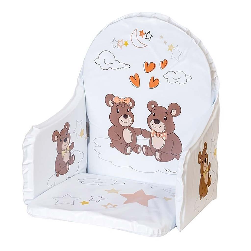 Vložka do dřevěných jídelních židliček typu New Baby Victory bílá medvídci