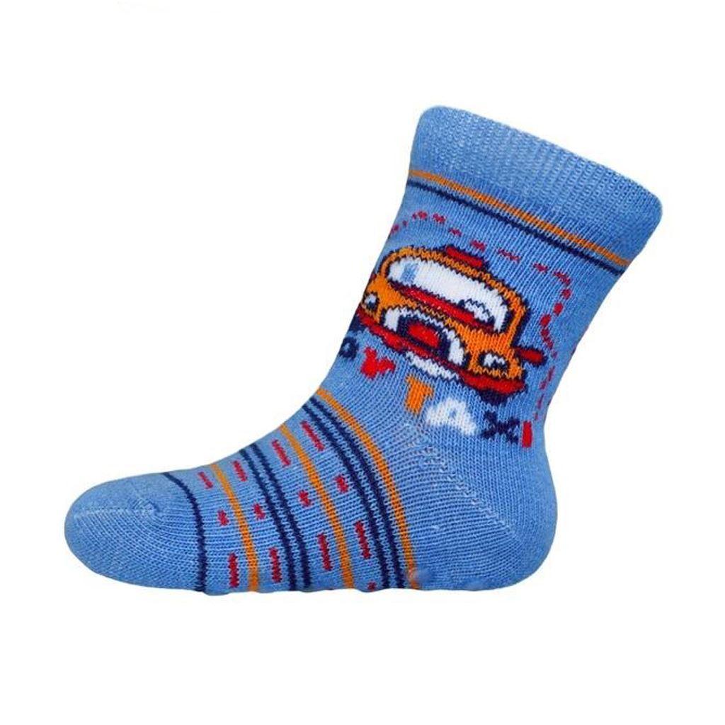 Kojenecké ponožky New Baby s ABS modré toy taxi
