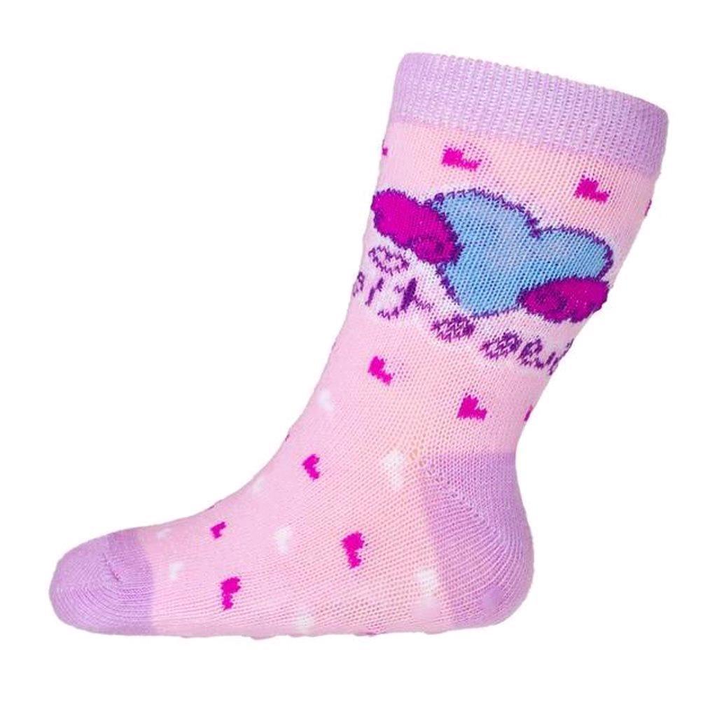 Kojenecké ponožky New Baby s ABS růžové se srdíčkem sweet
