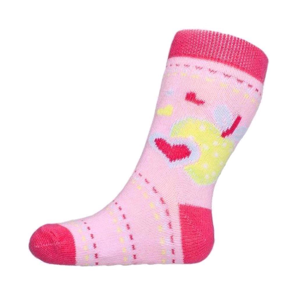 Kojenecké ponožky New Baby s ABS růžové s jablíčkem