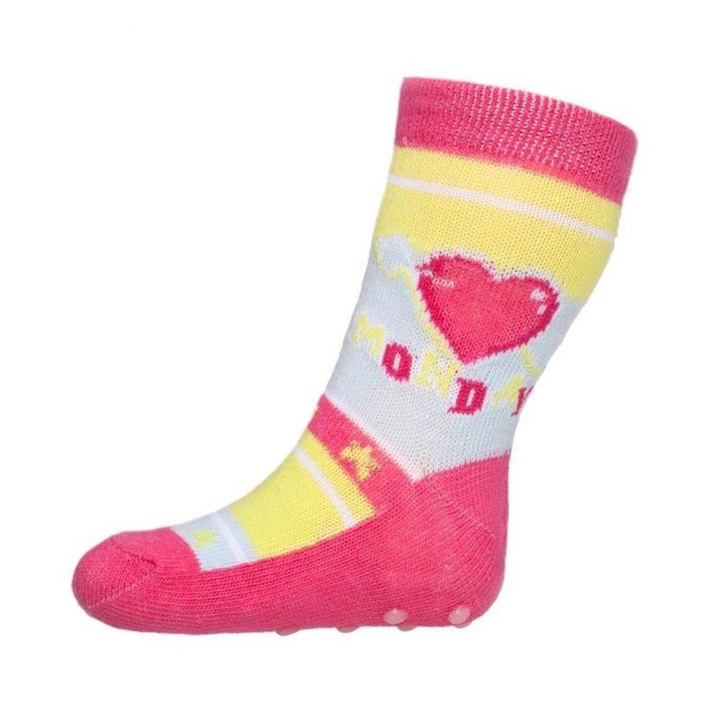 Kojenecké ponožky New Baby s ABS růžové Monday