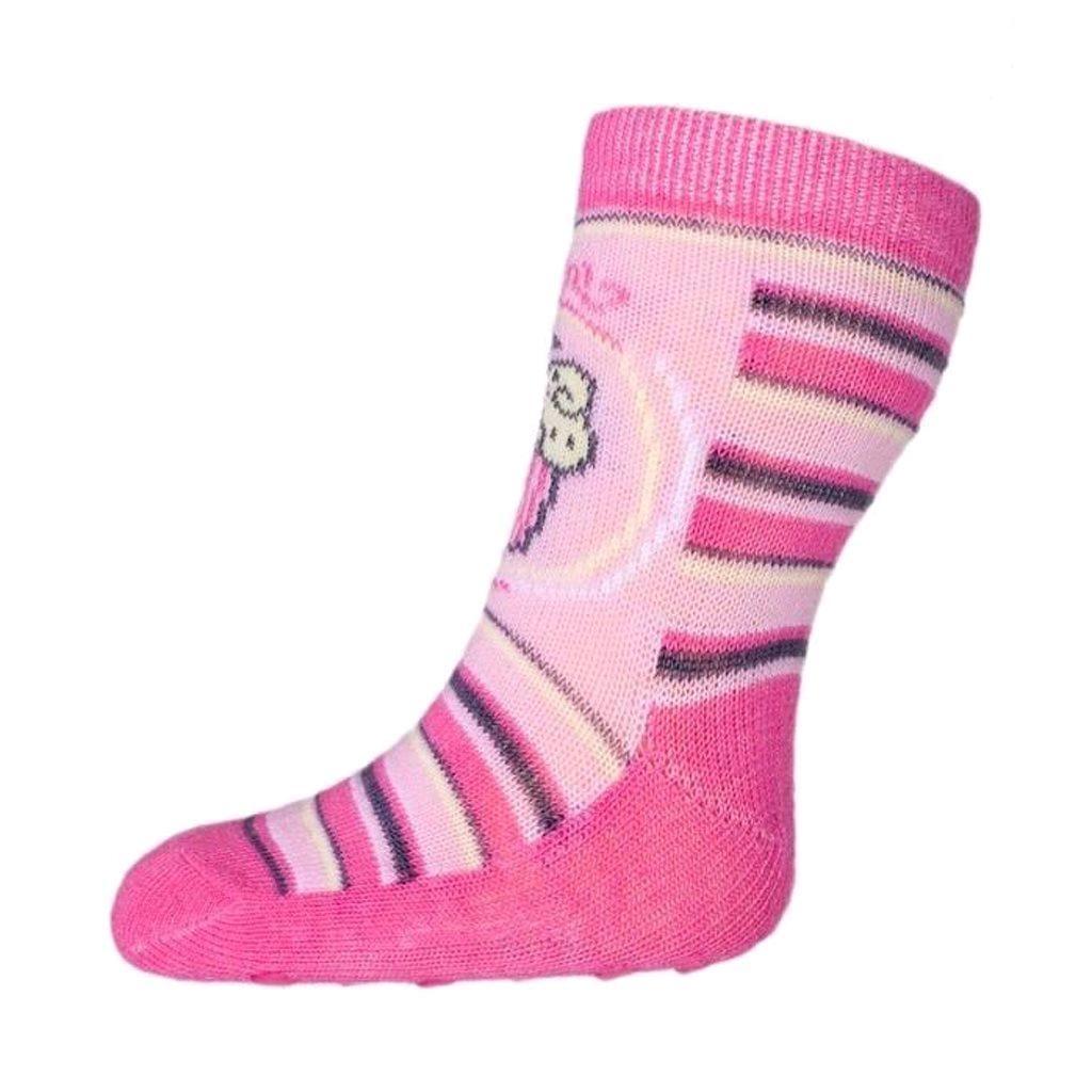 Kojenecké ponožky New Baby s ABS růžové s proužky a dorty