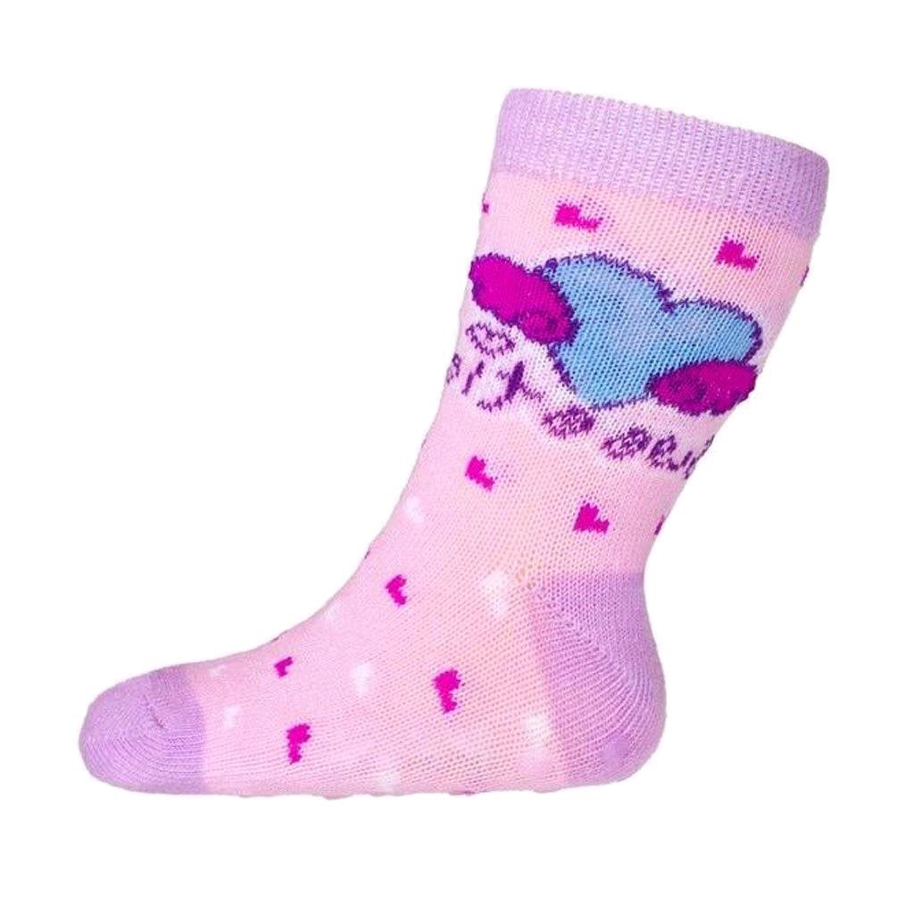 Kojenecké ponožky New Baby s ABS růžová se srdíčkem sweet