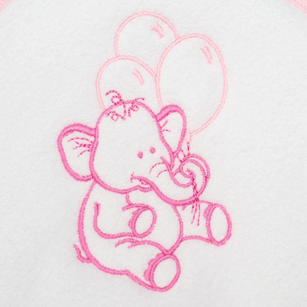 Dětská froté osuška s výšivkou a kapucí New Baby 80x80 bílá sloník