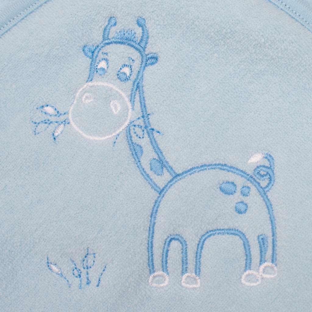 Dětská froté osuška s výšivkou a kapucí New Baby 100x100 modrá žirafka