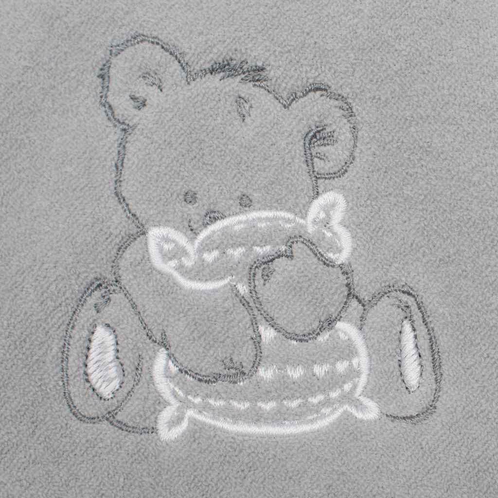 Dětská froté osuška s výšivkou a kapucí New Baby 100x100 šedá medvěd