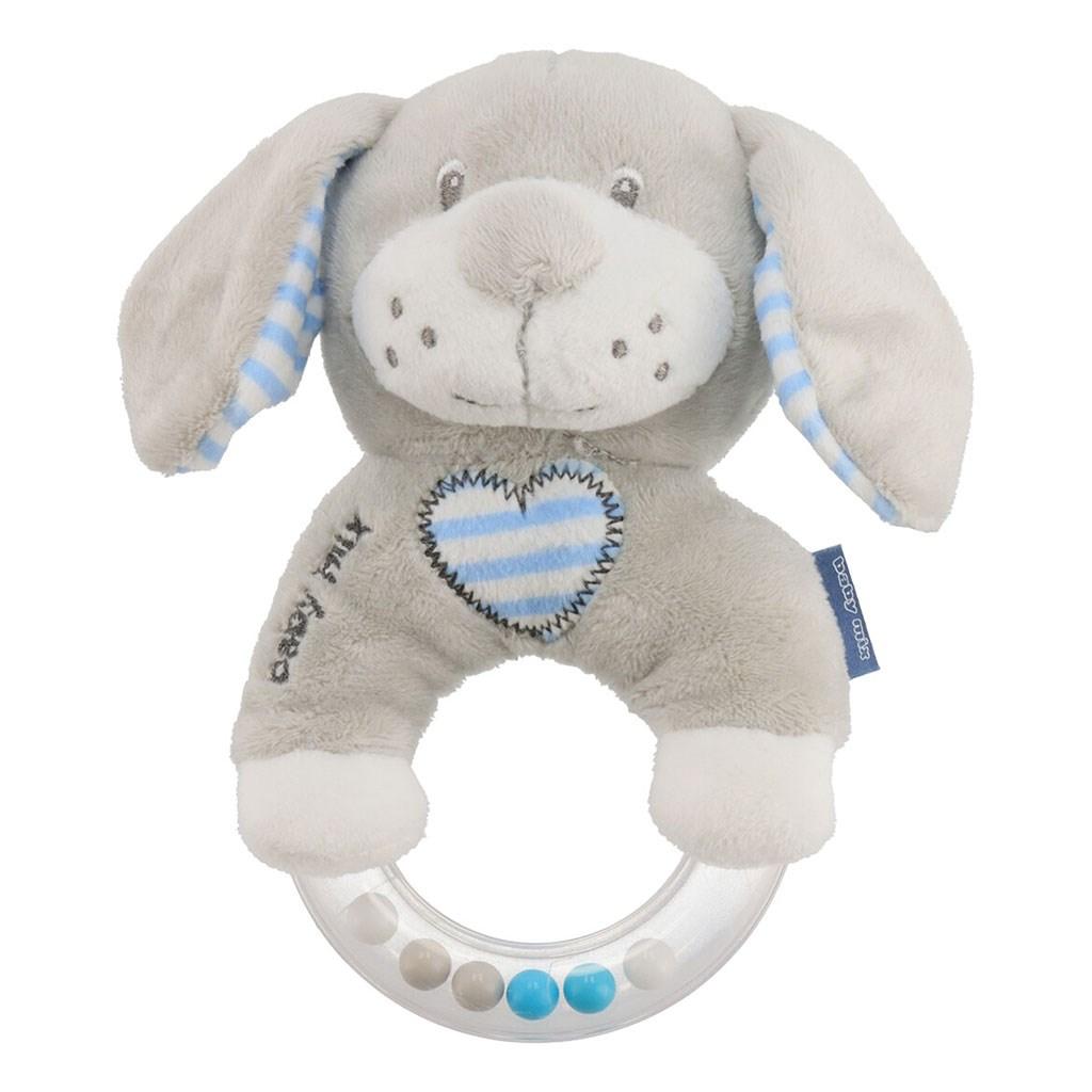 Dětské plyšové chrastítko Baby Mix pes modrý