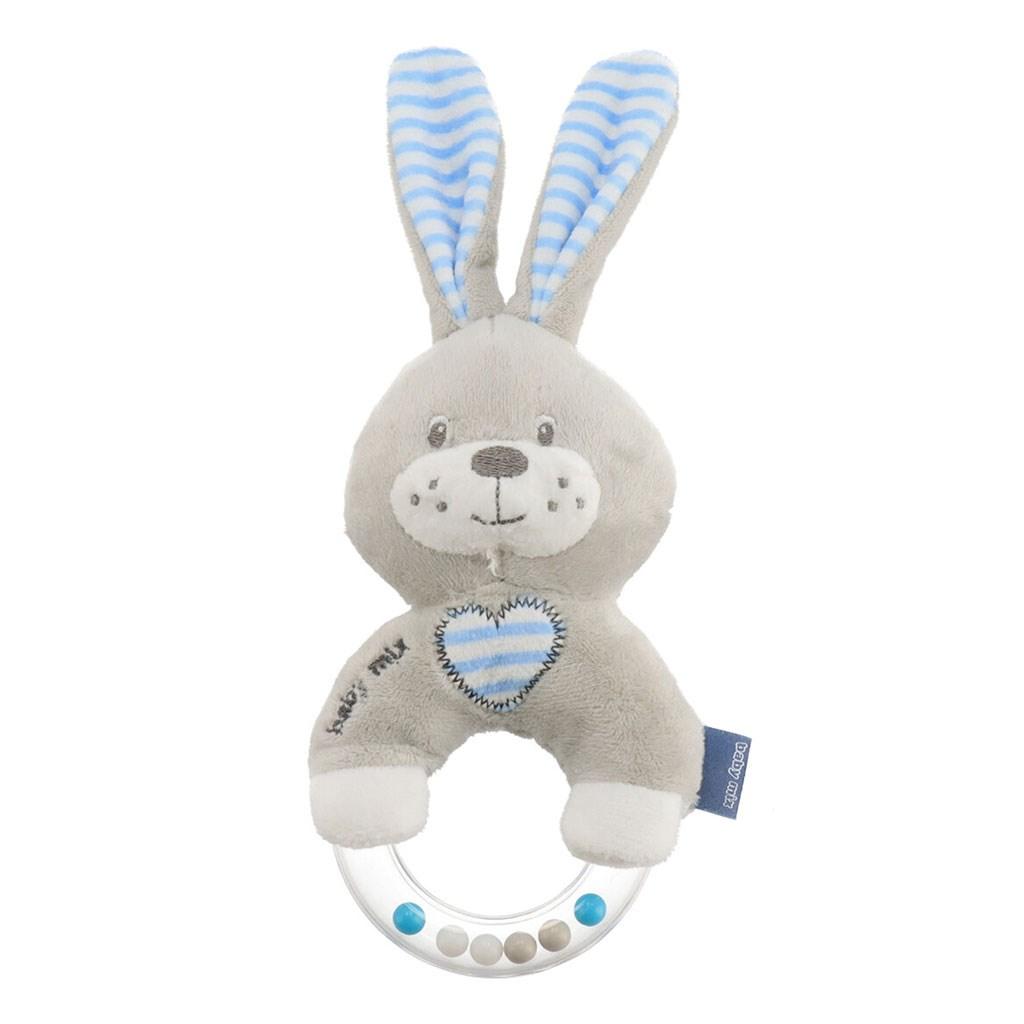 Dětské plyšové chrastítko Baby Mix králík modrý